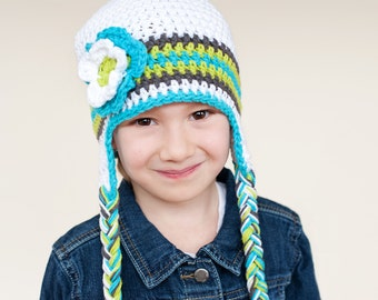 1-4 Yrs White, Blue, Gray & Green Striped Toddler Girl Earflap Hat With Matching Flower Accent