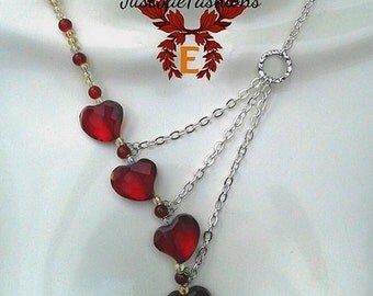 Asymmetrical Red Heart Necklace, Statement Piece Jewelry, Heart Pendant Charm Necklace