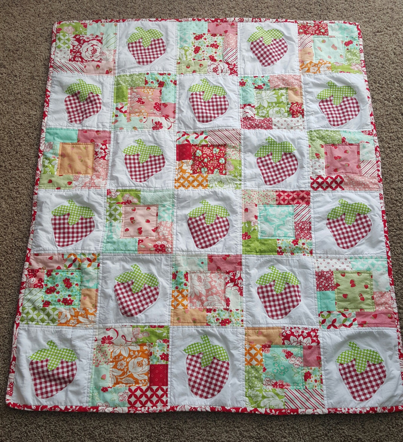 Crib Quilt Size: Strawberry Crib Size Baby Quilt By RockingKidsQuilts On Etsy