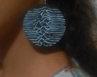 Hand painted wood earrings Joy Division-hand painted Wood earrings