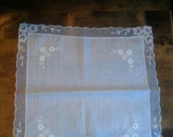 Dainty Wedding Handkerchief, Embroidered Lace Hankie, Bridal Gift, Bridal Handkerchief, Pocket Art, Antique Lace, LynnieMcGoogins