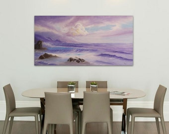 Large Ocean Sunrise Painting, XL Living Room Art, Ocean Waves, Purple Seascape, Original Large Oil Painting on Canvas, Surrender to Love