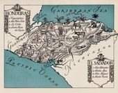 Whimsical HONDURAS Map of Honduras and El Salvador Print 1940s Pictorial Map Travel Map Gallery Wall Art Gift for Boyfriend Birthday Gift