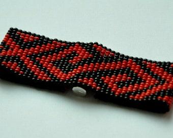 Black and Red Beaded Bracelet, Loom Beaded Bracelet