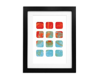 Geometric Print Geometric Art Wall Art Minimalist Art Abstract Print Abstract Art Minimalist Print Sunset Print Coral Wall Art