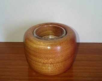 Small woodturned tea light holder with glass insert