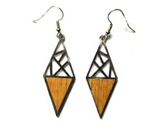 Geometric wood stainless steel earrings