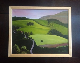 Original Landscape Oil Painting - Rolling Hills Country Side - Green Hills - Winding Road - Mountain Village - Framed Oil Painting