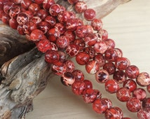 "Red Sea Sediment Jasper >> 5mm Round Beads >> 16"" Strand - Small, Sphere, Gemstones, Light, Medium, Dark Red, Impression Jasper"
