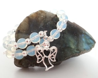 Sea Opalite Bracelet, Silver Plated Memory Wire Bracelet with Sea Opalite beads and a choice of Angel Charm, Heart Charm or Butterfly Charm