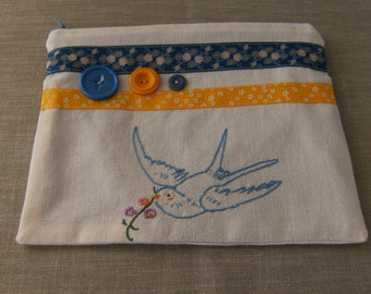 """Zippered Pouch, Lined Zippered Pouch, 8""""x 6"""" Zippered Pouch, Upcycled Zippered Pouch, Vintage Zippered Pouch, Blue & Yellow Zippered Pouch"""