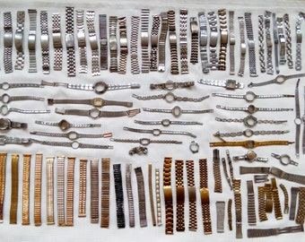 Set of 89 bracelets for watches, Steampunk Supplies, Wrist Watches Cases, Metal Bracelets, Vintage Watch Parts, Mens Watch Cases Watch Parts