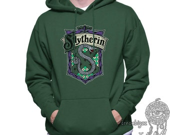 Slyth Crest #2 Full Color printed on Forest Green, Black, White, or Light steel Hoodie