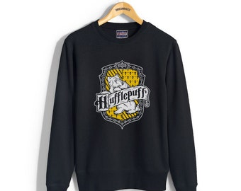 Huffle #2 Crest printed on Black color Crew neck Sweatshirt