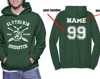 CAPTAIN - Custom Number and name on back, Slytherin Quidditch team Captain White print printed on Forest green Hoodie