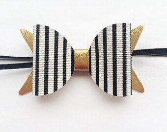 Striped Medium Bow - Black and White Bow - Photo Prop