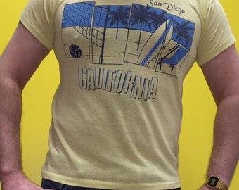 80s Yellow San Diego California Medium shirt