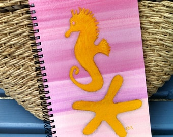 Hand Painted Spiral Journal; Wire Bound Blank Notebook; Small Sketchbook; Seahorse Silhouette; Starfish Silhouette