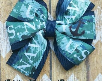 U.S. Navy 4 inch pinwheel hair bow