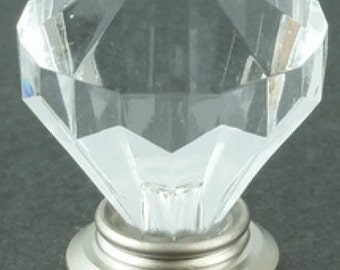 Diamond Cut Acrylic Clear Small Knob Pull for Dressers, Cabinets, Drawers, Desks or Doors - D4