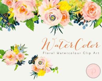 Watercolor Flower, Floral Clip art, Watercolor Floral Cliparts, PNG Clipart, floral Cliparts, Instant Download, wca17