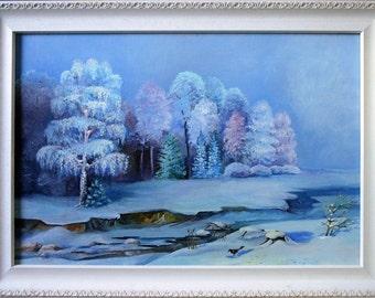 Originalgemälde Winter - in Öl auf Leinwand - inklusive hochwertigem Holzrahmen - 1999