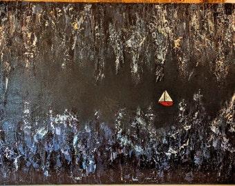 At Sea, Original Art, Boat at Sea, Seascape