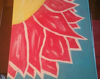 16 x 20 Pink and Yellow Flower Acryllic Painting