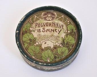 """Antique Powder Box Le Sancy """"Polvo de Nieve"""" Art Nouveau design c1910s"""