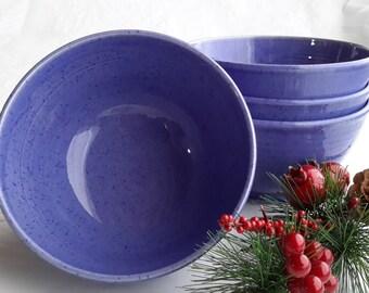 ready to ship, set of 4 café au lait bowls, pottery bowl, handmade blue bowl, cereal bowl, soup bowl, ceramic bowl