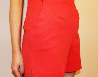 80s Vintage IZOD Red Polyester High-Waisted Tennis Shorts