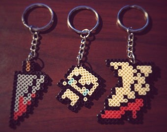 Mini Perler Binding of Isaac Keychains