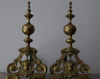 Antique French Pair of Brass and Cast Iron Fireplace Andirons 16''