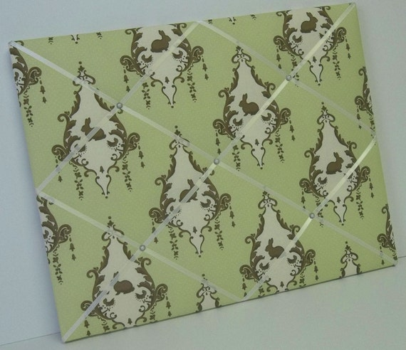 Bunny Hill  Lily & Will green Nursery fabric French Memo Board
