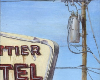 Giclee, Limited Edition Fine Art Print from an Original Painting of Whittier Motel by Debbie Shirley