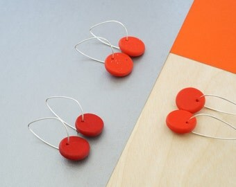 Red earrings,thin sterling silver hoop earrings, minimal earrings, polymer clay jewelry, dangle earrings, gift for her