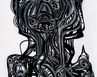 Suit of Armor - Original Abstract Art Print