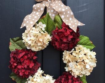 Hydrangea wreath ,spring wreath ,valentine wreath ,spring decorative wreath ,red hydrangea wreath ,cream hydrangea wreath