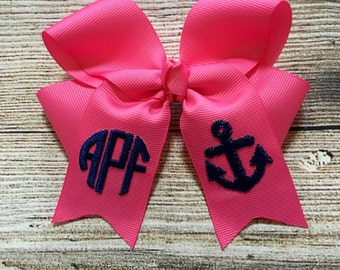 You Choose Colors...Monogrammed Medium or Large Hair Bow w/ Anchor Design…Personalized Nautical Hairbow with Initials or Monogram