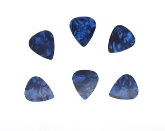 6 x Blue Guitar Pick Marble Effect Celluloid Great For Making Jewellery