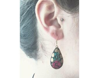 Ethno style mosaic earring