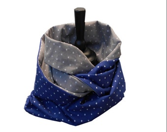 Long scarf double blue and grey starry
