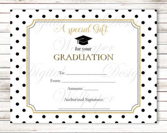 Graduation Gift Certificate,Graduation Gift Card,Gold Glitter Letter Gift Certificate,Graduation Certificate,high School Graduation