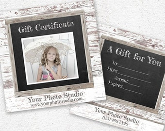 Photography Gift Certificate Template,Photo Gift Card,Chalkboard Gift Card, Photoshop Template,Photography Marketing Set,PSD download,Design