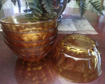Vintage Amber Thumbprint Bowls - Set of 5