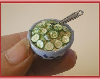 Bowl cucumber salad - Dollhouse / miniature polymer clay