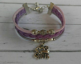 Girls Cheer Bracelet// Friendship Bracelet// Team Colors// Cheer Mom// Cheerleader Gift// Choose Sports Team Colors & Charm