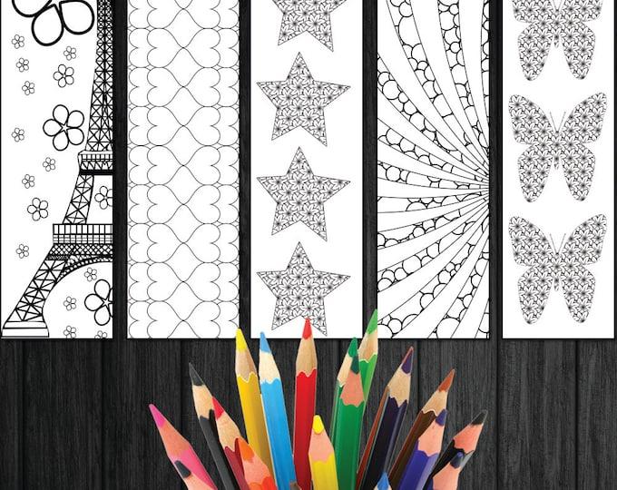 Bookmark Download, Cute Bookmark, Coloring Adults Bookmark, Digital Bookmark, Coloring Bookmark, Unique Bookmark, Floral Bookmark