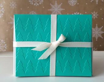 Multicolor Christmas Tree Card Set, Embossed, Blank Inside