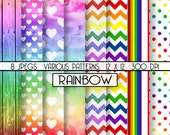 Rainbow Digital Paper Various Patterns Pack, perfect for scrapbooking and graphic projects, INSTANT DOWNLOAD, item C107